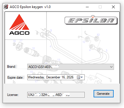 AGCO Epsilon Security Key generator