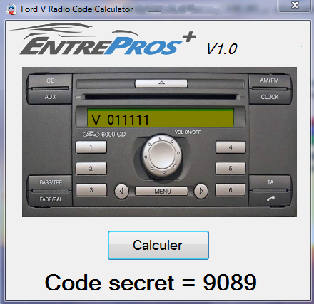 Ford V Series Radio Calculator - security code generator