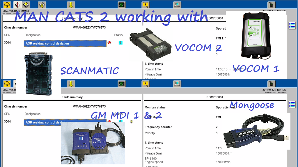 MAN Cats II working with Mongoose GM MDI VOCOM 1 & 2 Scanmatic