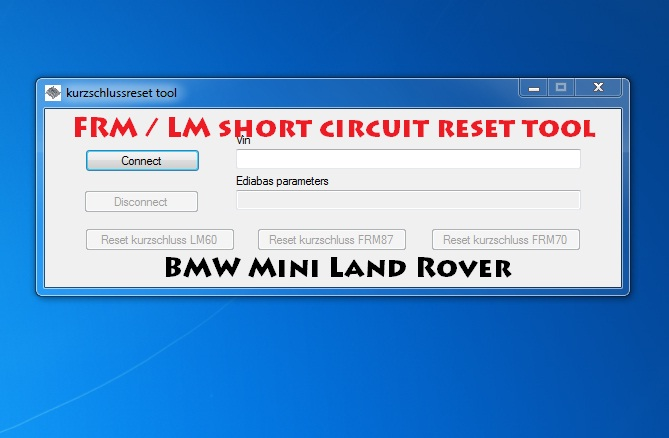BMW Mini land Rover FRM LM short circuit reset tool wia OBD